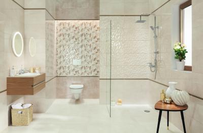 Elegáns fürdőszoba látványos burkolatokkal - fürdő / WC ötlet, modern stílusban