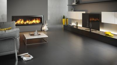 Sötét színű hidegburkolat a padlón - nappali ötlet, modern stílusban