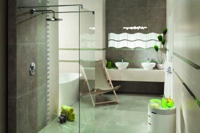 Szürke, fehér és kevés színes csempe - fürdő / WC ötlet, modern stílusban