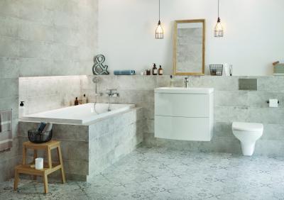 Betonhatású hidegburkolat - fürdő / WC ötlet, modern stílusban