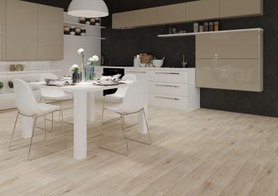 Fahatású hidegburkolat a padlón - konyha / étkező ötlet, modern stílusban
