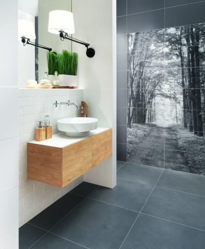 Fotó a csempén - fürdő / WC ötlet, modern stílusban