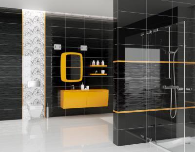 Fekete csempe a fürdőben - fürdő / WC ötlet, modern stílusban
