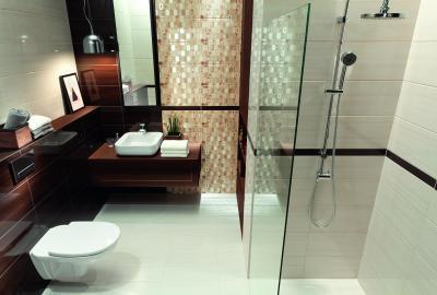 Barna fehér fürdőszoba - fürdő / WC ötlet, modern stílusban