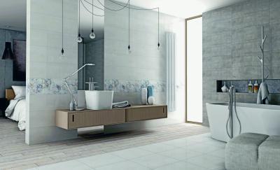 Tágas fürdőszoba nagyméretű burkolólapokkal - fürdő / WC ötlet, modern stílusban