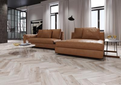 Halszálkába rakott hidegburkolat a padlón - nappali ötlet, modern stílusban