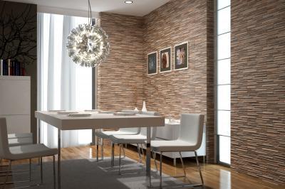 Kőhatású hidegburkolat a falon - nappali ötlet, modern stílusban