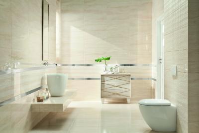 Minimál stílusú fürdő magasfényű burkolattal - fürdő / WC ötlet, minimál stílusban