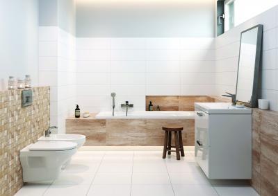 Bézs-fehér fürdőszoba - fürdő / WC ötlet, modern stílusban
