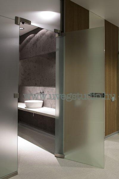 Beltéri térelválasztó üvegfal - Fürdőszoba üvegből - fürdő / WC ötlet