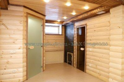 Üvegajtók - Wellness helységben is - Különös komináció a fa és az üveg - fürdő / WC ötlet
