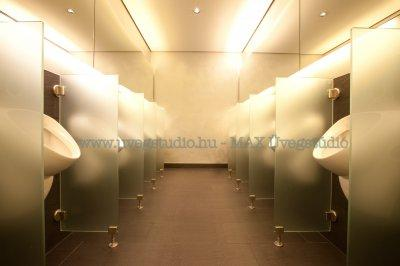 Az üvegből készült térelválasztás a közösségi felhasználás esetén is exkluzív megoldást kínál - fürdő / WC ötlet