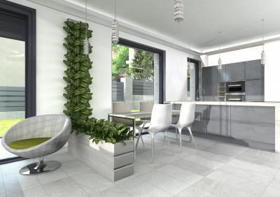 Természetes fényben fürdő konyha - konyha / étkező ötlet, modern stílusban