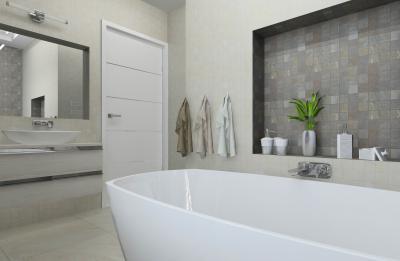 Tágas fürdő szabadonálló káddal - fürdő / WC ötlet, modern stílusban