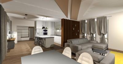 Pasztell szürkére hangolt nappali konyhával és étkezővel - nappali ötlet, modern stílusban