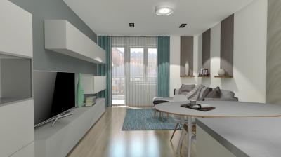 Szürke-fehér nappali - nappali ötlet, modern stílusban