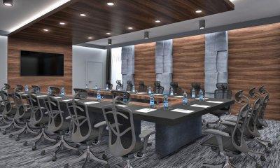 Fenix-fa-beton tárgyalóasztal - dolgozószoba ötlet, modern stílusban