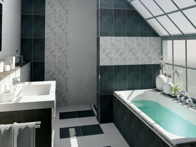 Szürke csempe fehérrel kiegészítve - fürdő / WC ötlet, modern stílusban