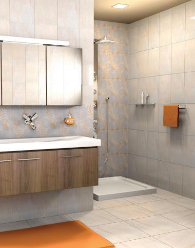 Dekoratív csempe - fürdő / WC ötlet, modern stílusban