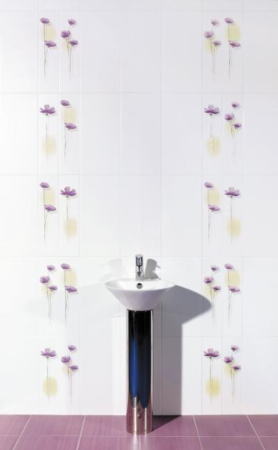 Virágmintás csempe - fürdő / WC ötlet, modern stílusban