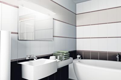 Csempe vízszintes tagolással - fürdő / WC ötlet, modern stílusban