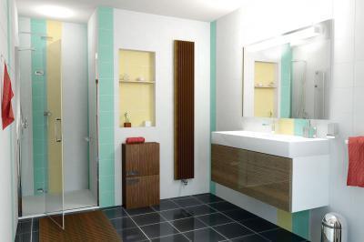 Többféle színű és méretű csempe a fürdőben - fürdő / WC ötlet, modern stílusban