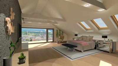 Tetőtéri hálószoba - háló ötlet, modern stílusban