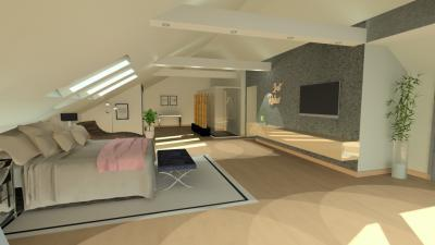Tetőtéri háló zuhanyfülkével - háló ötlet, modern stílusban