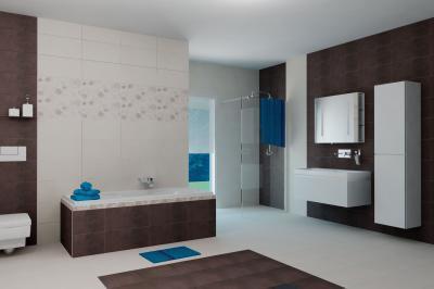 Sötét és világos hidegburkolat a fürdőben - fürdő / WC ötlet, modern stílusban