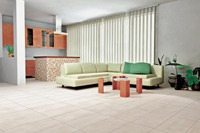 Egyterű nappali konyha azonos hidegburkolattal - nappali ötlet, modern stílusban