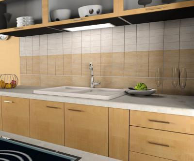 Natúr-bézs csempe a konyhában - konyha / étkező ötlet, modern stílusban