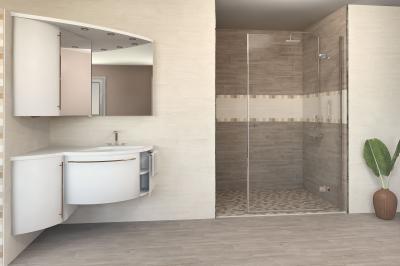 Egyszerű, de elegáns csempe a fürdőben - fürdő / WC ötlet, modern stílusban