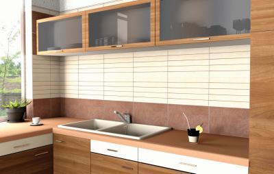 Különféle csempeméretek harmóniája - konyha / étkező ötlet, modern stílusban