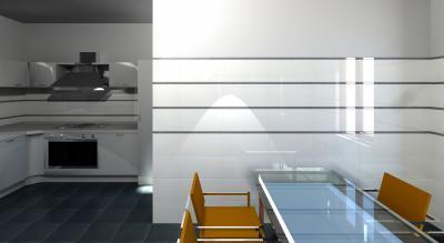 Sötét és világos burkolatok váltakozása - konyha / étkező ötlet, modern stílusban