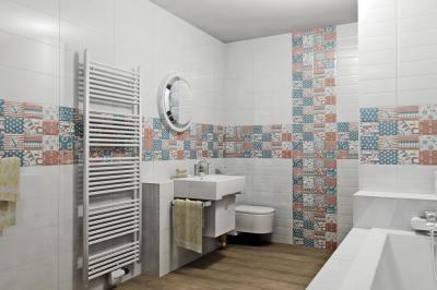 Dekoratív csempe a fürdőben - fürdő / WC ötlet, modern stílusban