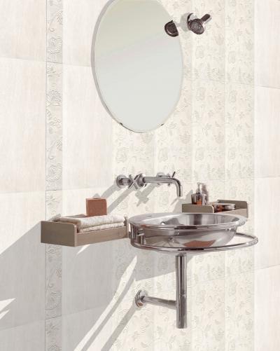 Növénymintás csempe a fürdőben - fürdő / WC ötlet, modern stílusban