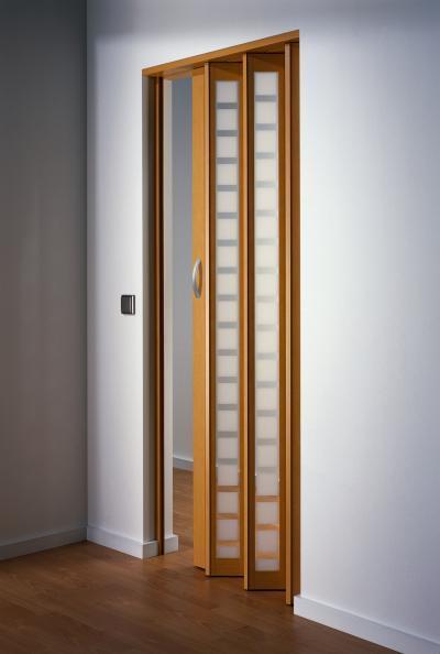 Harmonikaajtó hosszú ablakokkal - nappali ötlet, modern stílusban