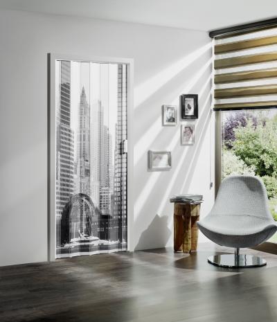 Harmonikaajtó dekorációval - nappali ötlet, modern stílusban