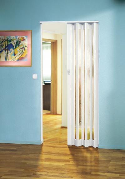 Visszafogottan elegáns harmonikaajtó - nappali ötlet, modern stílusban