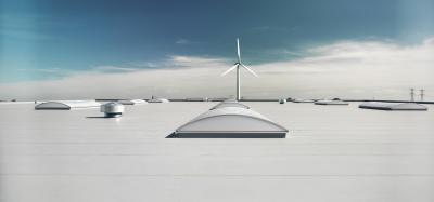 Ipari épület Monarplan vízszigetelő lemezborítással (BMI Villas) - tető ötlet, modern stílusban