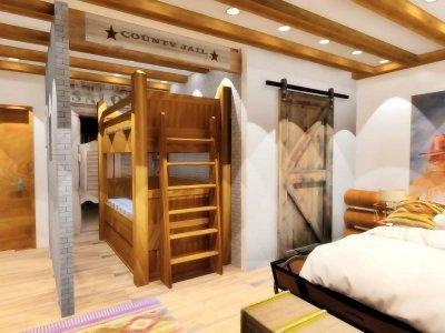 Wild West Western hotel családi szoba - háló ötlet, rusztikus stílusban