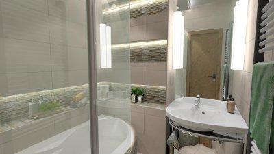 Kis alapterületü fűrdőszoba részlet - fürdő / WC ötlet, modern stílusban
