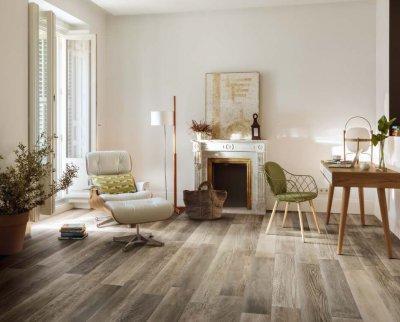Csempepont - DOM Ceramiche Barnwood - nappali ötlet