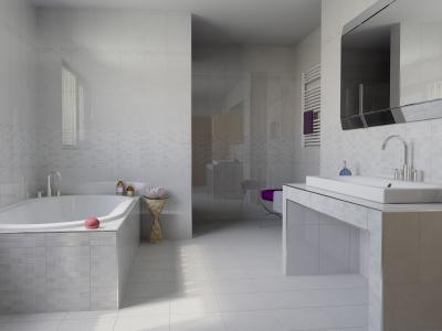 Fürdőszoba világos színű burkolattal - fürdő / WC ötlet, modern stílusban
