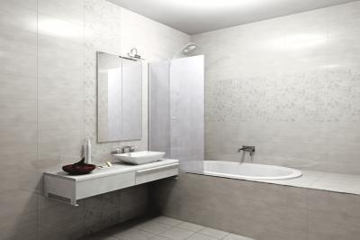 Világos színű hidegburkolat a fürdőben - fürdő / WC ötlet, modern stílusban