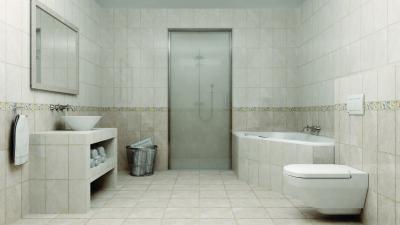 Kétféle színű csempe a fürdőben - fürdő / WC ötlet, modern stílusban