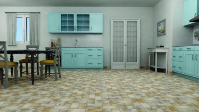 Kőhatású padlólap a konyhában - konyha / étkező ötlet, klasszikus stílusban