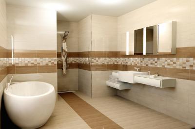 Bézs tónusú burkolat a fürdőben - fürdő / WC ötlet, modern stílusban