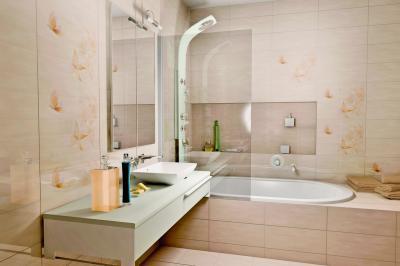 Mintás csempe a fürdőben - fürdő / WC ötlet, modern stílusban