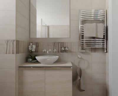 Mintás csempék a fürdőben - fürdő / WC ötlet, modern stílusban